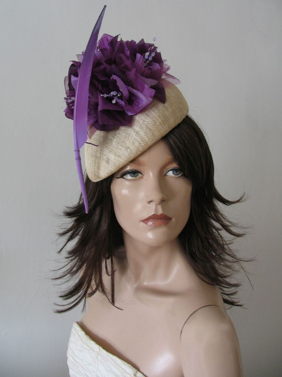 Ultra Violet Purple and Nude  Beret Fascinator Hatinator Ascot Kentucky Derby Headpiece